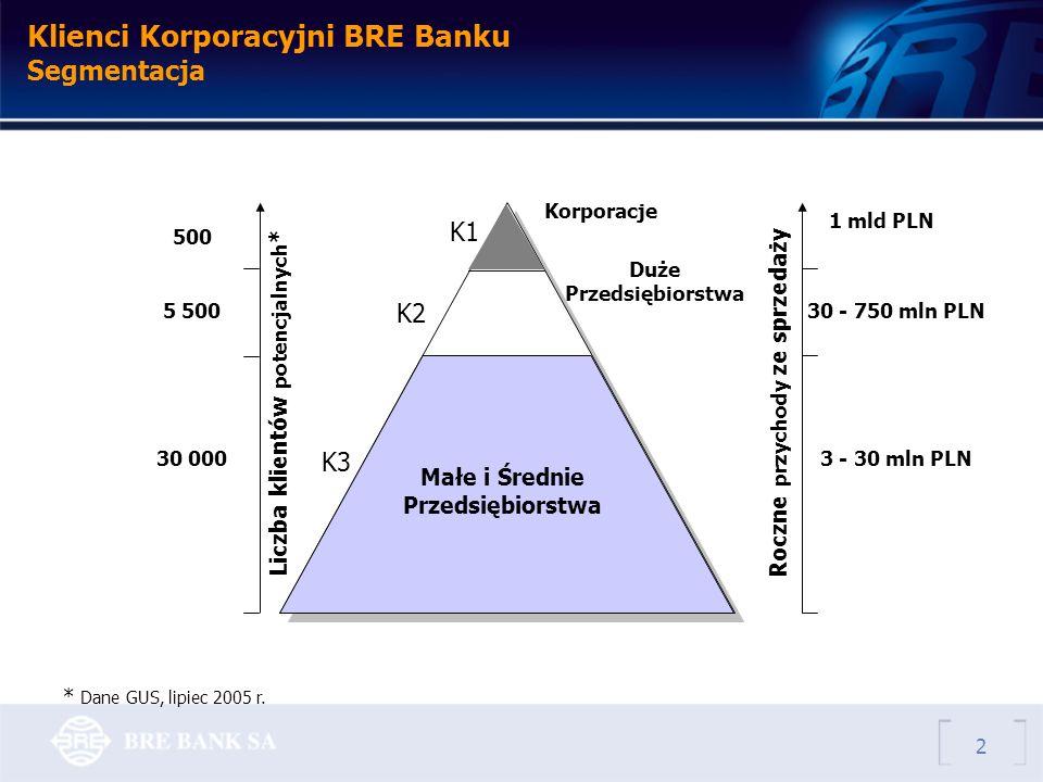 Klienci Korporacyjni BRE Banku Segmentacja K1 K2 K3 30 - 750 mln PLN 3 - 30 mln PLN 500 5 500 30 000 Liczba klientów potencjalnych *Roczne przychody ze sprzedaży Małe i Średnie Przedsiębiorstwa Duże Przedsiębiorstwa 1 mld PLN Korporacje * Dane GUS, lipiec 2005 r.