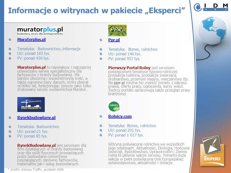 Muratorplus.pl Tematyka: Budownictwo, informacje UU: ponad 183 tys. PV: ponad 430 tys. Muratorplus.pl to największy i najczęściej odwiedzany serwis sp