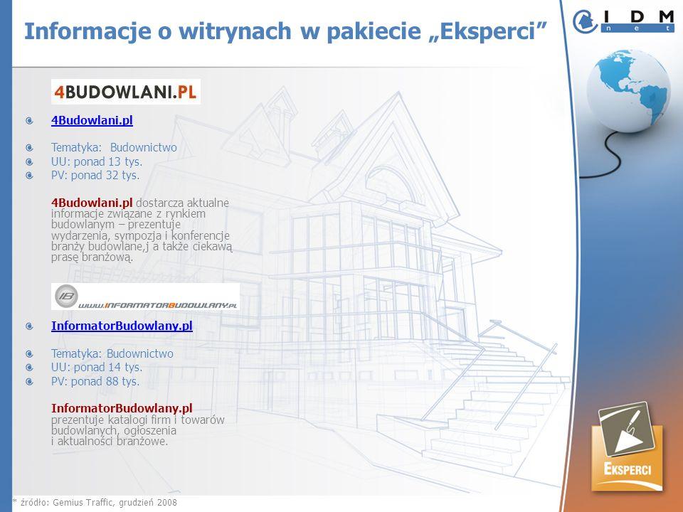4Budowlani.pl Tematyka: Budownictwo UU: ponad 13 tys. PV: ponad 32 tys. 4Budowlani.pl dostarcza aktualne informacje związane z rynkiem budowlanym – pr