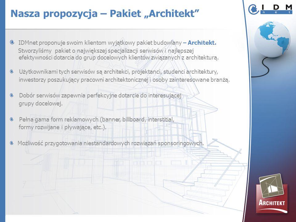 IDMnet proponuje swoim klientom wyjątkowy pakiet budowlany – Architekt. Stworzyliśmy pakiet o największej specjalizacji serwisów i najlepszej efektywn