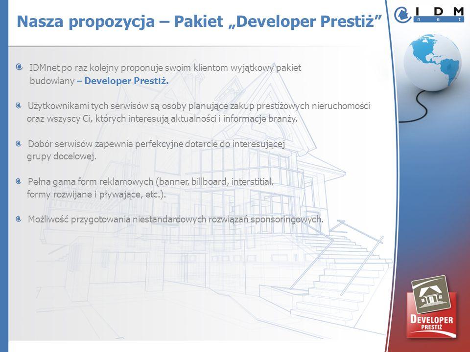 IDMnet po raz kolejny proponuje swoim klientom wyjątkowy pakiet budowlany – Developer Prestiż. Użytkownikami tych serwisów są osoby planujące zakup pr