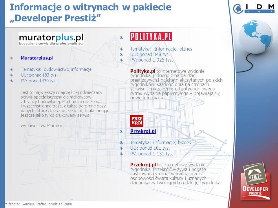 Muratorplus.pl Tematyka: Budownictwo, informacje UU: ponad 183 tys. PV: ponad 430 tys. Jest to największy i najczęściej odwiedzany serwis specjalistyc