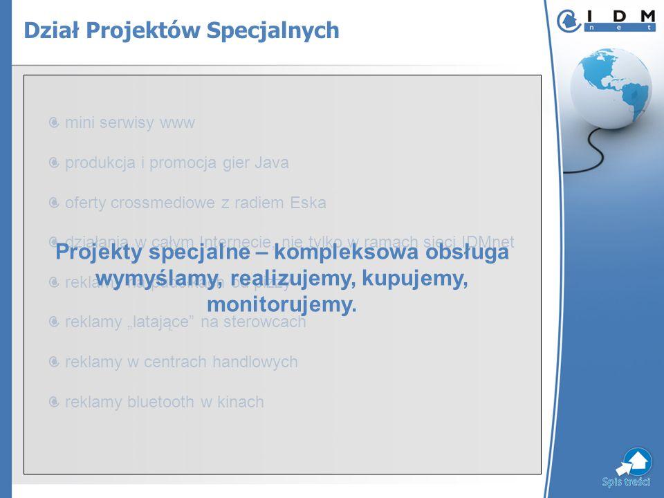 mini serwisy www produkcja i promocja gier Java oferty crossmediowe z radiem Eska działania w całym Internecie, nie tylko w ramach sieci IDMnet reklam