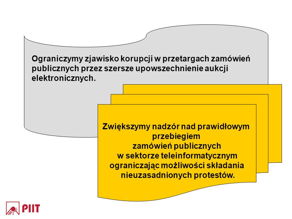 Ograniczymy zjawisko korupcji w przetargach zamówień publicznych przez szersze upowszechnienie aukcji elektronicznych. Zwiększymy nadzór nad prawidłow