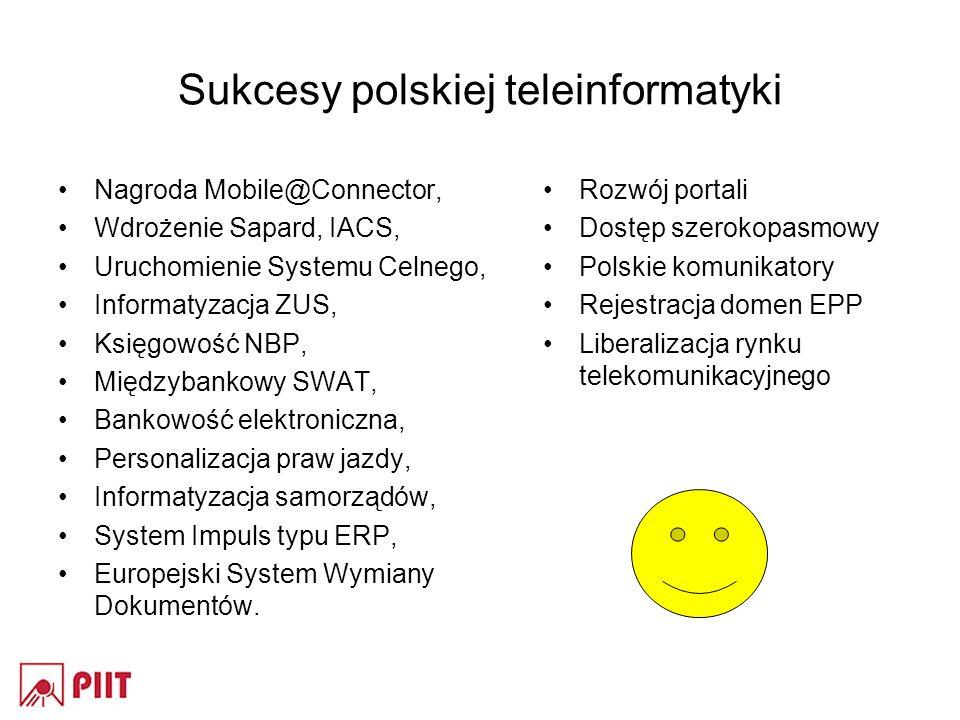 Sukcesy polskiej teleinformatyki Nagroda Mobile@Connector, Wdrożenie Sapard, IACS, Uruchomienie Systemu Celnego, Informatyzacja ZUS, Księgowość NBP, Międzybankowy SWAT, Bankowość elektroniczna, Personalizacja praw jazdy, Informatyzacja samorządów, System Impuls typu ERP, Europejski System Wymiany Dokumentów.