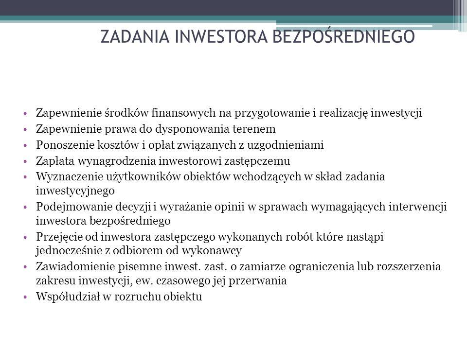 ZADANIA INWESTORA BEZPOŚREDNIEGO Zapewnienie środków finansowych na przygotowanie i realizację inwestycji Zapewnienie prawa do dysponowania terenem Ponoszenie kosztów i opłat związanych z uzgodnieniami Zapłata wynagrodzenia inwestorowi zastępczemu Wyznaczenie użytkowników obiektów wchodzących w skład zadania inwestycyjnego Podejmowanie decyzji i wyrażanie opinii w sprawach wymagających interwencji inwestora bezpośredniego Przejęcie od inwestora zastępczego wykonanych robót które nastąpi jednocześnie z odbiorem od wykonawcy Zawiadomienie pisemne inwest.