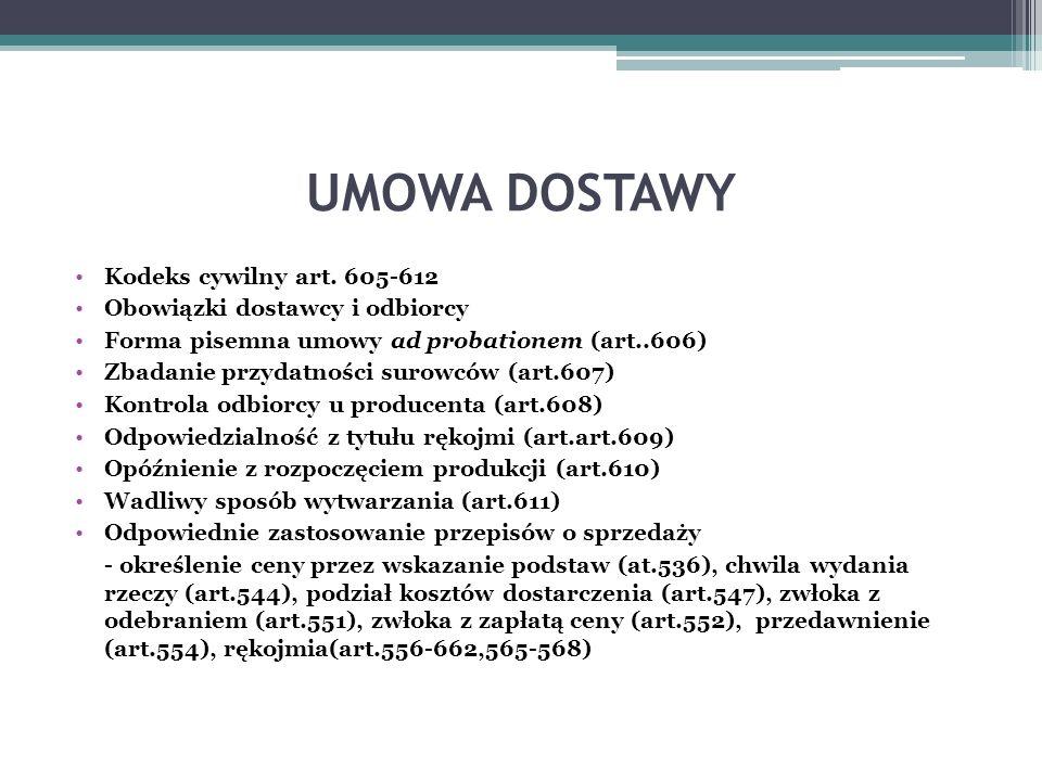 UMOWA DOSTAWY Kodeks cywilny art.