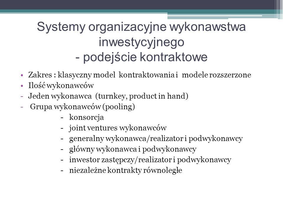 Systemy organizacyjne wykonawstwa inwestycyjnego - podejście kontraktowe Zakres : klasyczny model kontraktowania i modele rozszerzone Ilość wykonawców -Jeden wykonawca (turnkey, product in hand) - Grupa wykonawców (pooling) - konsorcja - joint ventures wykonawców - generalny wykonawca/realizator i podwykonawcy - główny wykonawca i podwykonawcy - inwestor zastępczy/realizator i podwykonawcy - niezależne kontrakty równoległe