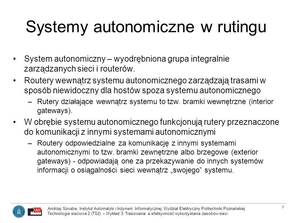 Andrzej Szwabe, Instytut Automatyki i Inżynierii Informatycznej, Wydział Elektryczny Politechniki Poznańskiej Technologie sieciowe 2 (TS2) – Wykład 3: Trasowanie a efektywność wykorzystania zasobów sieci 8 Systemy autonomiczne w rutingu