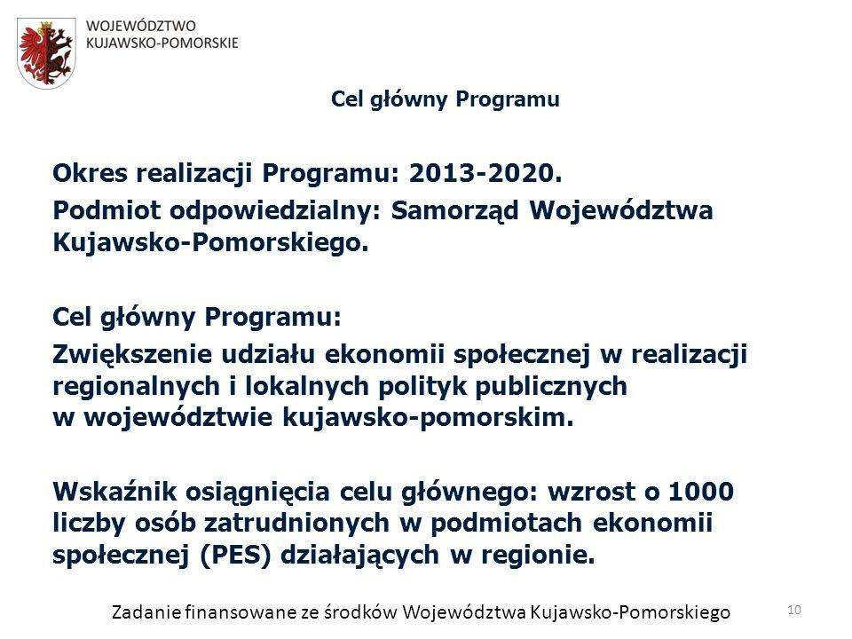 Zadanie finansowane ze środków Województwa Kujawsko-Pomorskiego Okres realizacji Programu: 2013-2020.
