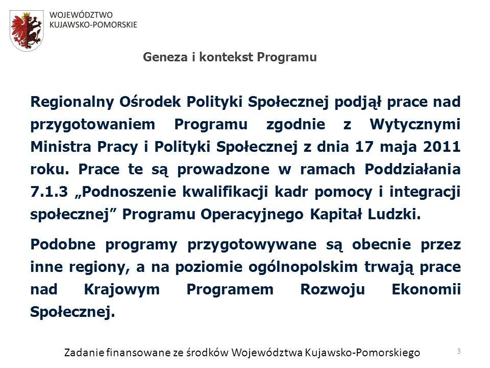 Zadanie finansowane ze środków Województwa Kujawsko-Pomorskiego Regionalny Ośrodek Polityki Społecznej podjął prace nad przygotowaniem Programu zgodnie z Wytycznymi Ministra Pracy i Polityki Społecznej z dnia 17 maja 2011 roku.