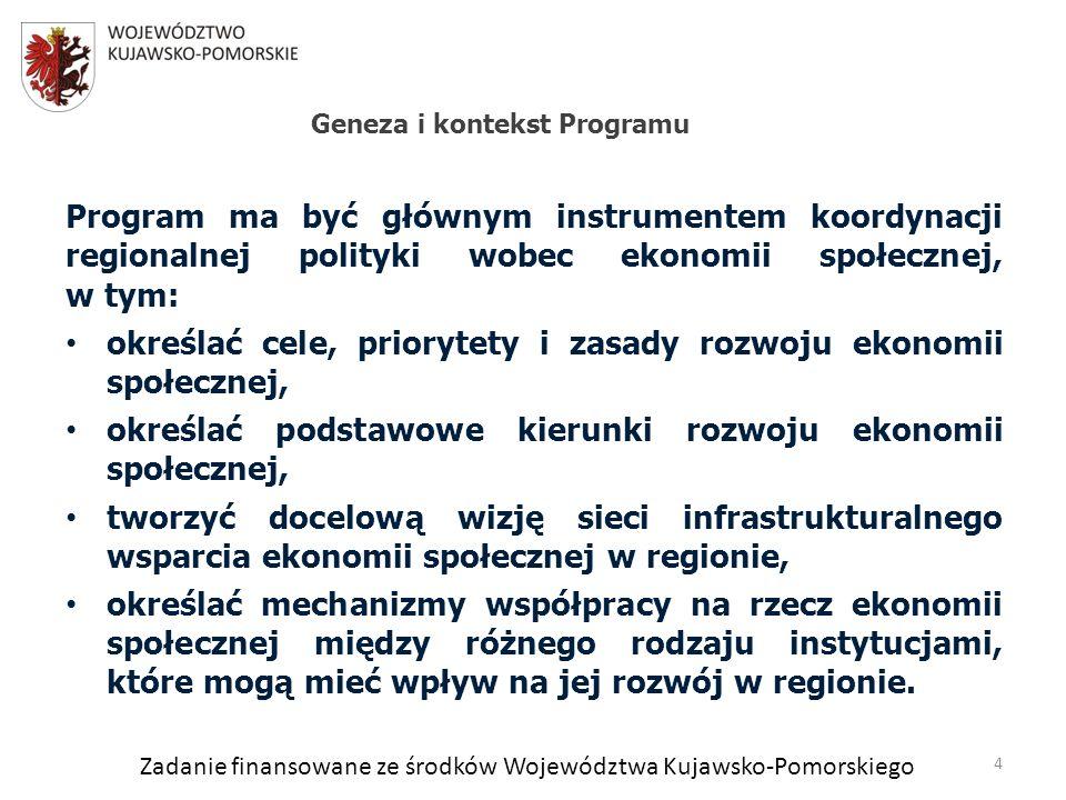 Zadanie finansowane ze środków Województwa Kujawsko-Pomorskiego Program ma być głównym instrumentem koordynacji regionalnej polityki wobec ekonomii społecznej, w tym: określać cele, priorytety i zasady rozwoju ekonomii społecznej, określać podstawowe kierunki rozwoju ekonomii społecznej, tworzyć docelową wizję sieci infrastrukturalnego wsparcia ekonomii społecznej w regionie, określać mechanizmy współpracy na rzecz ekonomii społecznej między różnego rodzaju instytucjami, które mogą mieć wpływ na jej rozwój w regionie.