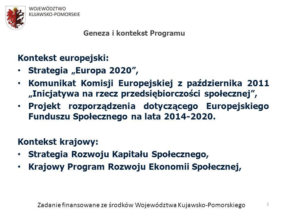 Zadanie finansowane ze środków Województwa Kujawsko-Pomorskiego Kontekst europejski: Strategia Europa 2020, Komunikat Komisji Europejskiej z października 2011 Inicjatywa na rzecz przedsiębiorczości społecznej, Projekt rozporządzenia dotyczącego Europejskiego Funduszu Społecznego na lata 2014-2020.