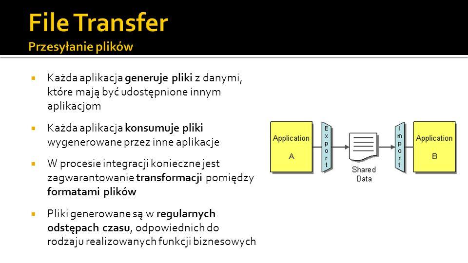 Każda aplikacja generuje pliki z danymi, które mają być udostępnione innym aplikacjom Każda aplikacja konsumuje pliki wygenerowane przez inne aplikacje W procesie integracji konieczne jest zagwarantowanie transformacji pomiędzy formatami plików Pliki generowane są w regularnych odstępach czasu, odpowiednich do rodzaju realizowanych funkcji biznesowych