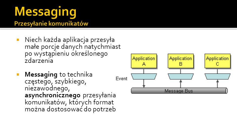 Niech każda aplikacja przesyła małe porcje danych natychmiast po wystąpieniu określonego zdarzenia Messaging to technika częstego, szybkiego, niezawodnego, asynchronicznego przesyłania komunikatów, których format można dostosować do potrzeb
