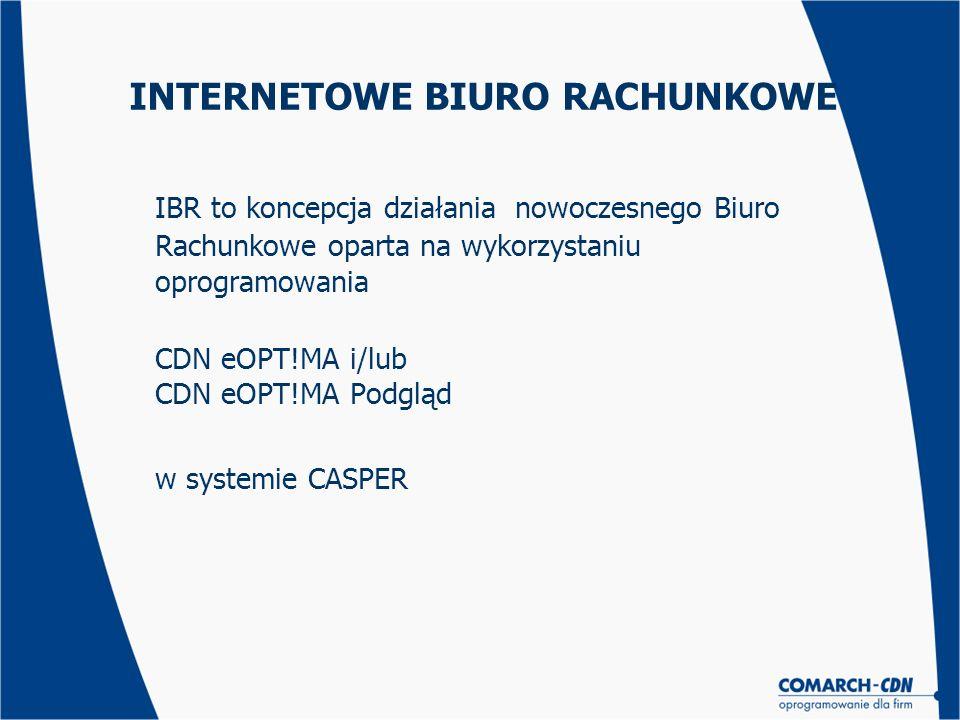INTERNETOWE BIURO RACHUNKOWE IBR to koncepcja działania nowoczesnego Biuro Rachunkowe oparta na wykorzystaniu oprogramowania CDN eOPT!MA i/lub CDN eOP
