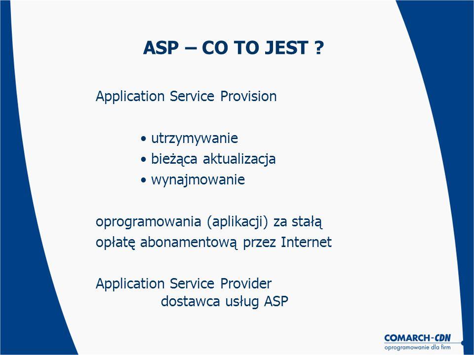 ASP – CO TO JEST ? Application Service Provision utrzymywanie bieżąca aktualizacja wynajmowanie oprogramowania (aplikacji) za stałą opłatę abonamentow