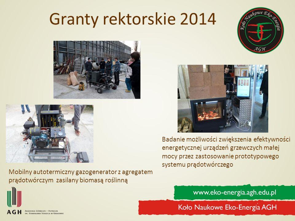 Granty rektorskie 2014 Mobilny autotermiczny gazogenerator z agregatem prądotwórczym zasilany biomasą roślinną Badanie możliwości zwiększenia efektywn
