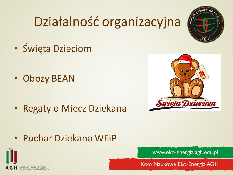 Działalność organizacyjna Święta Dzieciom Obozy BEAN Regaty o Miecz Dziekana Puchar Dziekana WEiP