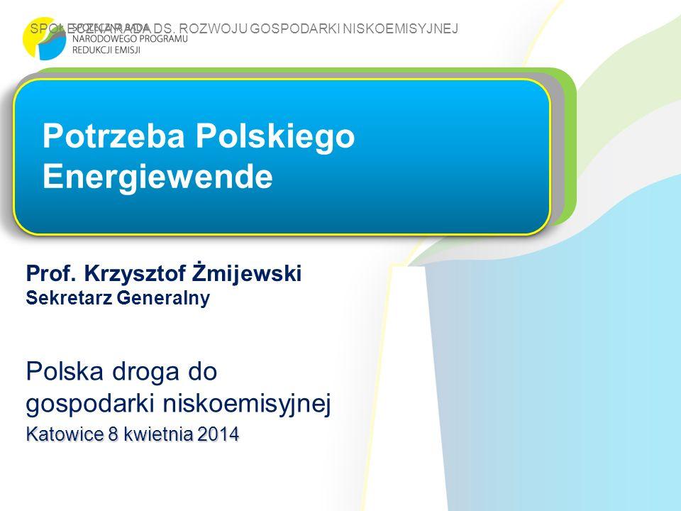 SPOŁECZNA RADA DS. ROZWOJU GOSPODARKI NISKOEMISYJNEJ Prof. Krzysztof Żmijewski Sekretarz Generalny Potrzeba Polskiego Energiewende Polska droga do gos