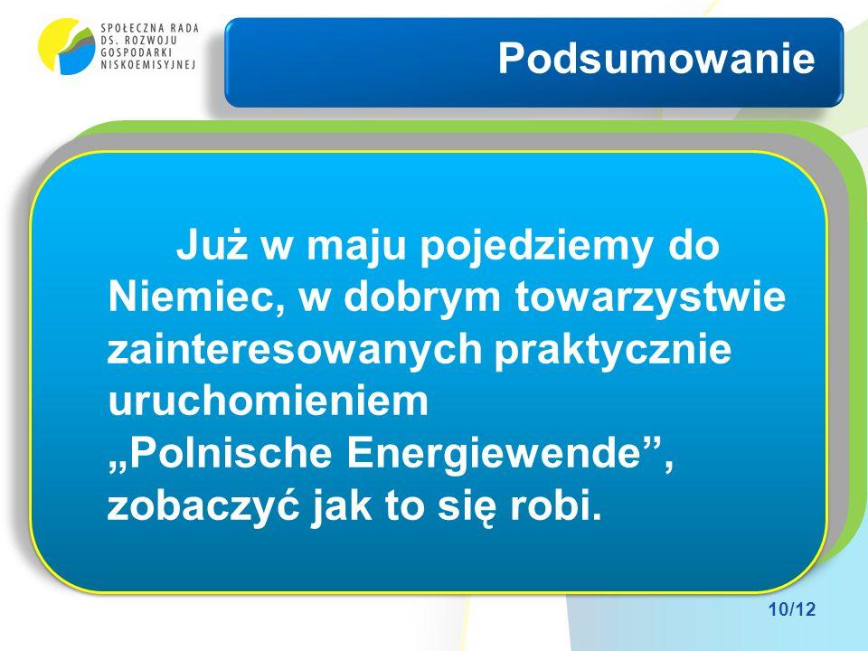Komuś może się to wydawać iluzoryczne (Anglikom nie) Komuś może się to wydawać niemożliwe (Niemcom nie) Komuś może się to wydawać niepotrzebne (Polakom nie) Podsumowanie 10/12 Już w maju pojedziemy do Niemiec, w dobrym towarzystwie zainteresowanych praktycznie uruchomieniem Polnische Energiewende, zobaczyć jak to się robi.