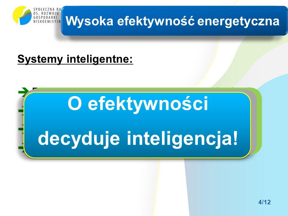 Systemy inteligentne: Dynamiczne zarządzanie siecią (DGM) Inteligentne liczniki (AMR) Zarządzanie popytem (DSM) Inteligentne obiekty (SB) Wysoka efektywność energetyczna 4/12 O efektywności decyduje inteligencja!
