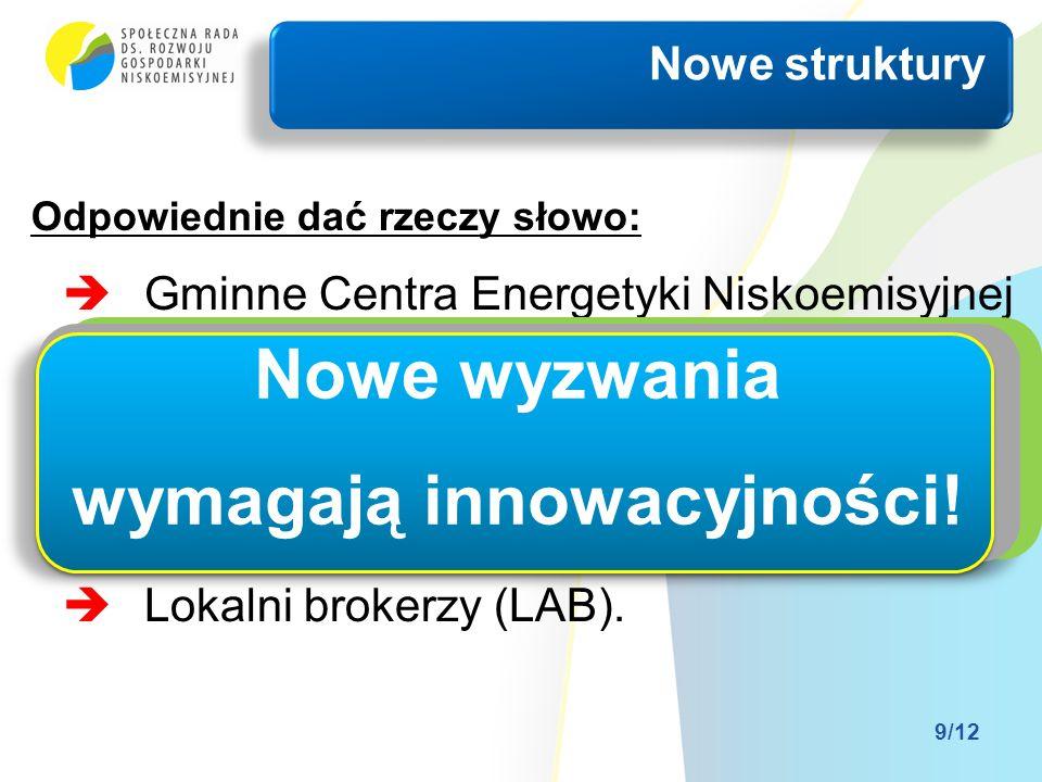 Gminne Centra Energetyki Niskoemisyjnej (Autonomiczny Region Energetyczny); Gminne Spółdzielnie Energetyczne (Energiegenossenschaften); Grupy zakupowe; Lokalni brokerzy (LAB).