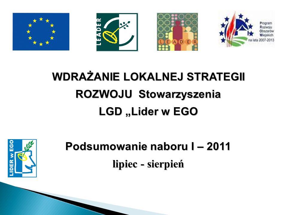 WDRAŻANIE LOKALNEJ STRATEGII ROZWOJU Stowarzyszenia LGD Lider w EGO Podsumowanie naboru I – 2011 lipiec - sierpień