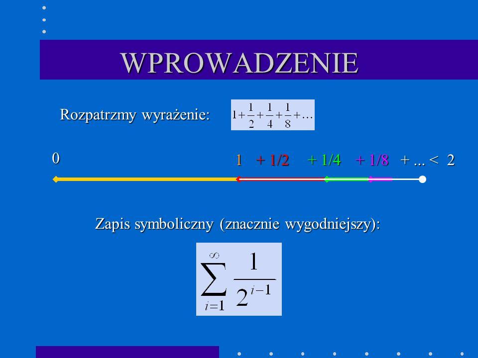 Pożyteczne twierdzenia Jeżeli szereg jest zbieżny, to Warunek konieczny zbieżności szeregu: Jeżeli a zatem Ponieważ szereg jest zbieżny, to Dowód: