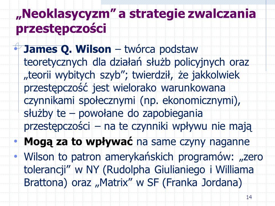 Neoklasycyzm a strategie zwalczania przestępczości James Q. Wilson – twórca podstaw teoretycznych dla działań służb policyjnych oraz teorii wybitych s
