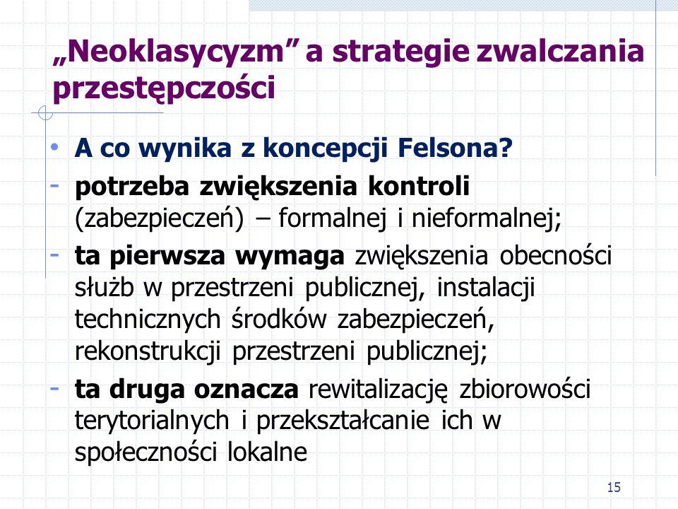Neoklasycyzm a strategie zwalczania przestępczości A co wynika z koncepcji Felsona? - potrzeba zwiększenia kontroli (zabezpieczeń) – formalnej i niefo