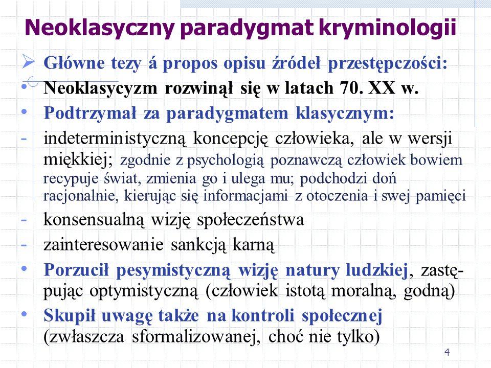 Neoklasyczny paradygmat kryminologii Główne tezy á propos opisu źródeł przestępczości: Neoklasycyzm rozwinął się w latach 70. XX w. Podtrzymał za para