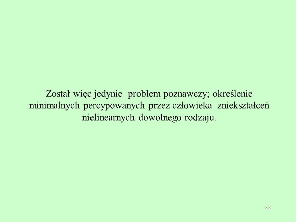 22 Został więc jedynie problem poznawczy; określenie minimalnych percypowanych przez człowieka zniekształceń nielinearnych dowolnego rodzaju.