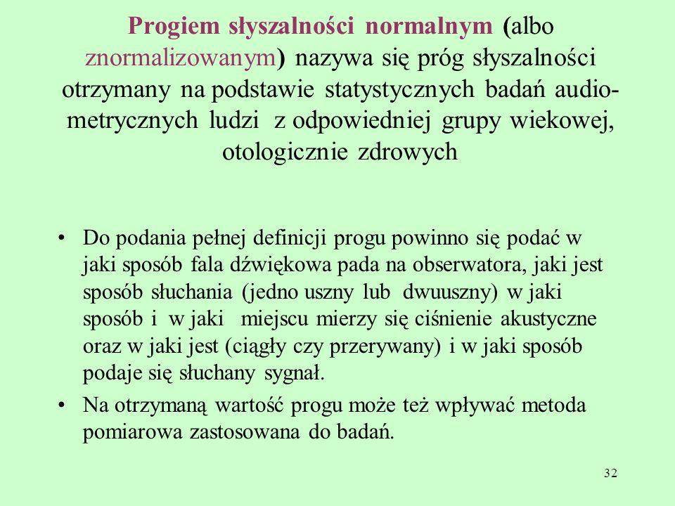 32 Progiem słyszalności normalnym (albo znormalizowanym) nazywa się próg słyszalności otrzymany na podstawie statystycznych badań audio- metrycznych l