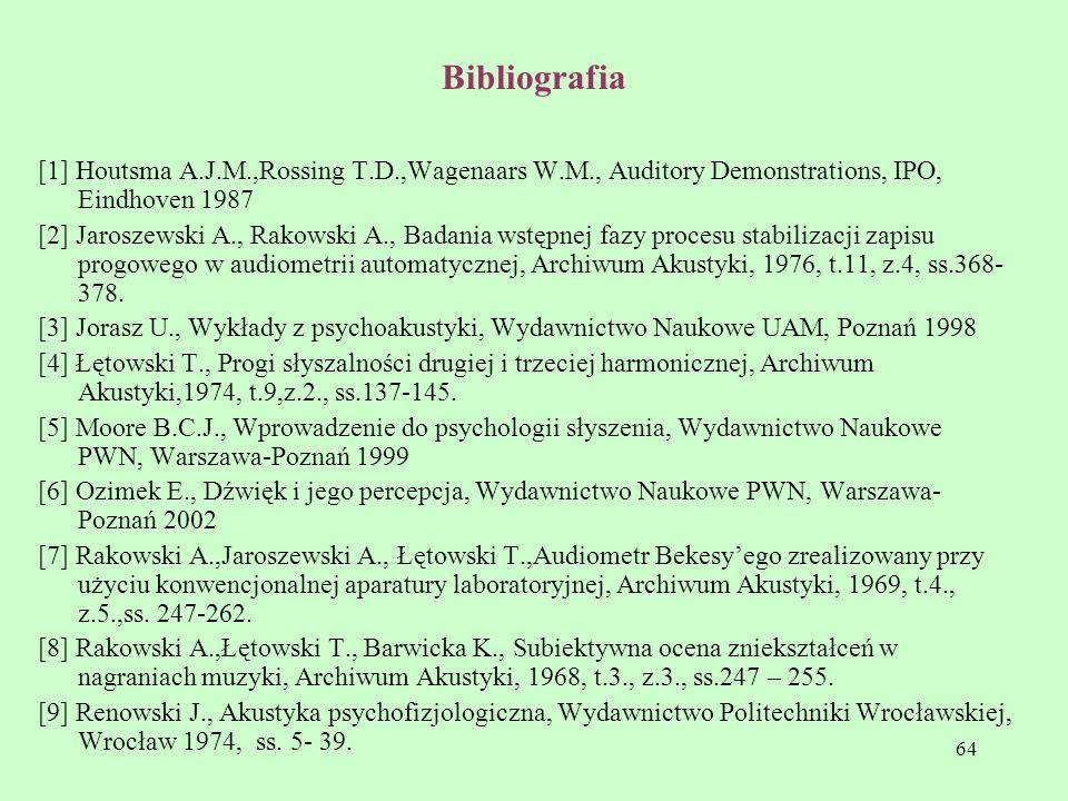 64 Bibliografia [1] Houtsma A.J.M.,Rossing T.D.,Wagenaars W.M., Auditory Demonstrations, IPO, Eindhoven 1987 [2] Jaroszewski A., Rakowski A., Badania