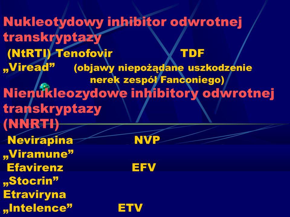 Nukleotydowy inhibitor odwrotnej transkryptazy (NtRTI) Tenofovir TDF Viread (objawy niepożądane uszkodzenie nerek zespół Fanconiego) Nienukleozydowe i