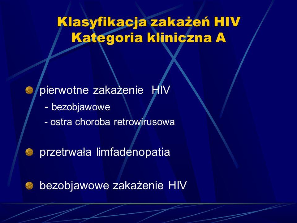 Klasyfikacja zakażeń HIV Kategoria kliniczna A pierwotne zakażenie HIV - bezobjawowe - ostra choroba retrowirusowa przetrwała limfadenopatia bezobjawo