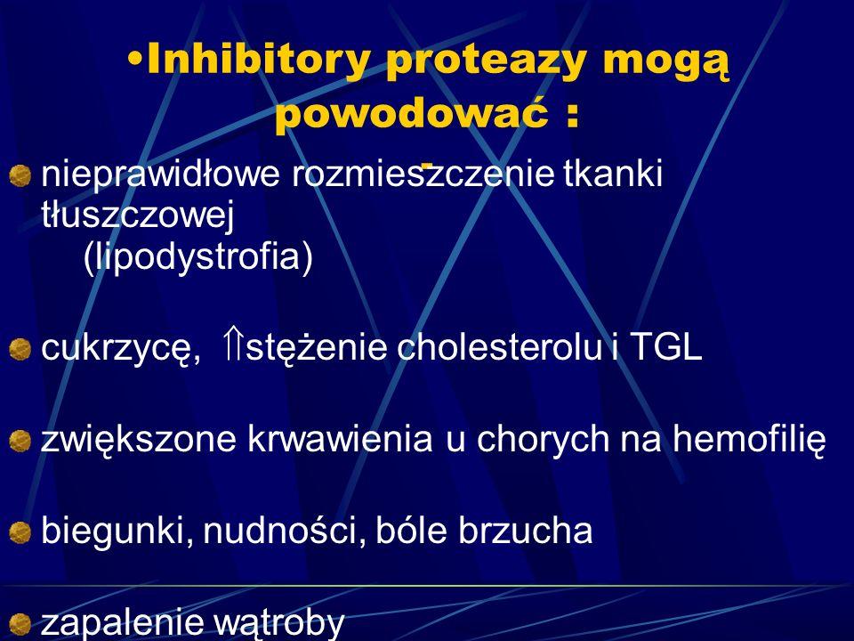 Inhibitory proteazy mogą powodować : - nieprawidłowe rozmieszczenie tkanki tłuszczowej (lipodystrofia) cukrzycę, stężenie cholesterolu i TGL zwiększon