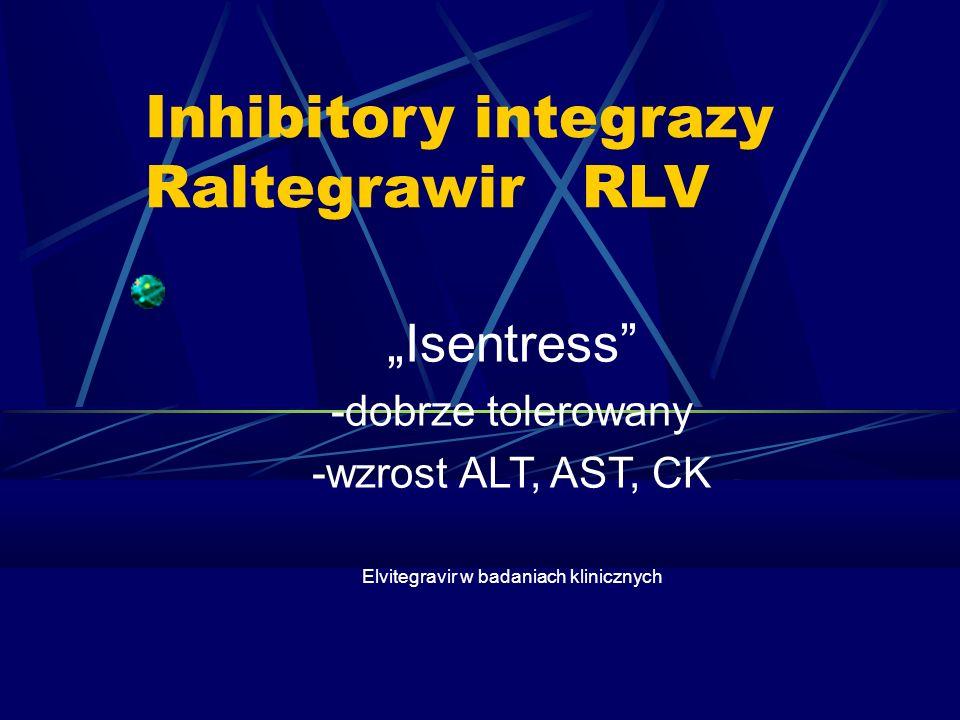 Inhibitory integrazy Raltegrawir RLV Isentress -dobrze tolerowany -wzrost ALT, AST, CK Elvitegravir w badaniach klinicznych