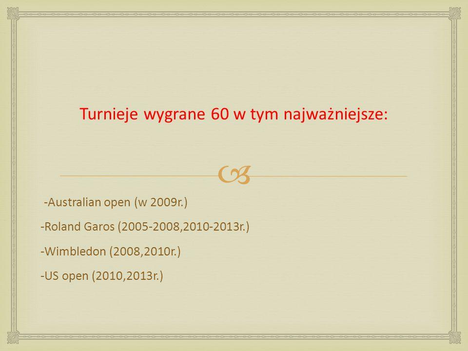 Turnieje wygrane 60 w tym najważniejsze: -Australian open (w 2009r.) -Roland Garos (2005-2008,2010-2013r.) -Wimbledon (2008,2010r.) -US open (2010,201