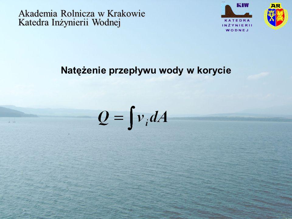 Natężenie przepływu wody w korycie Akademia Rolnicza w Krakowie Katedra Inżynierii Wodnej