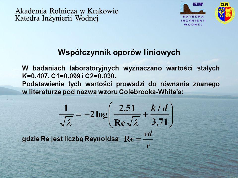 Współczynnik oporów liniowych Akademia Rolnicza w Krakowie Katedra Inżynierii Wodnej W badaniach laboratoryjnych wyznaczano wartości stałych K=0.407, C1=0.099 i C2=0.030.