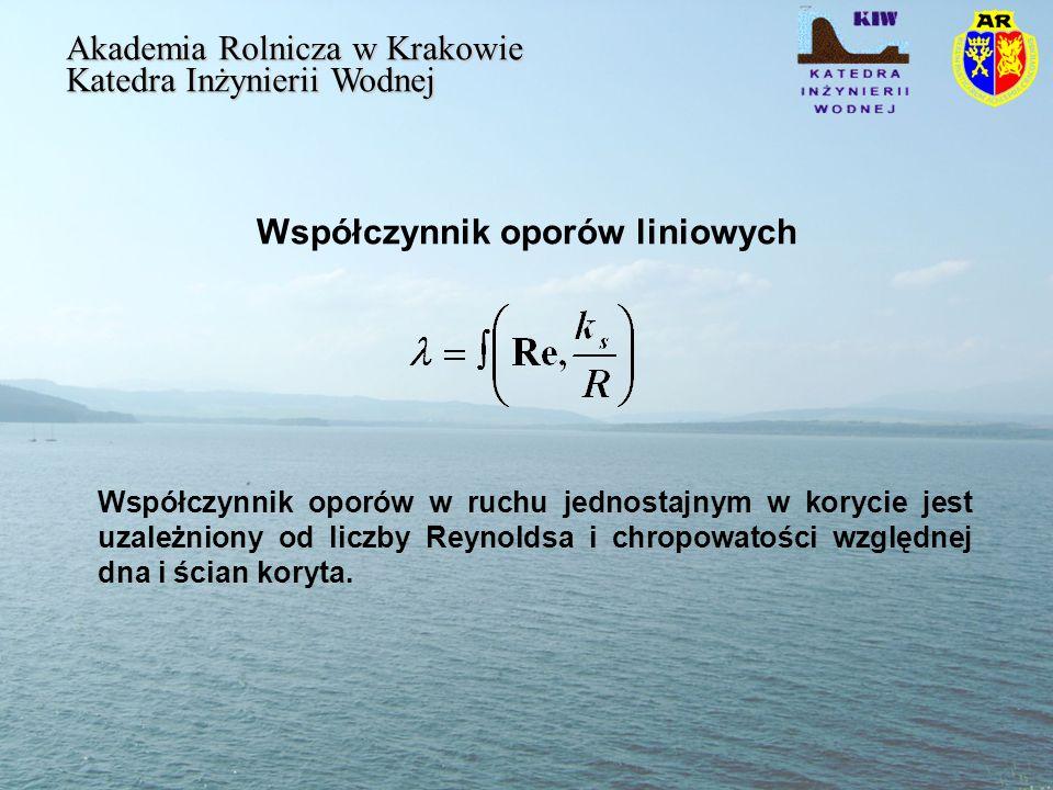 Współczynnik oporów liniowych Akademia Rolnicza w Krakowie Katedra Inżynierii Wodnej Współczynnik oporów w ruchu jednostajnym w korycie jest uzależniony od liczby Reynoldsa i chropowatości względnej dna i ścian koryta.
