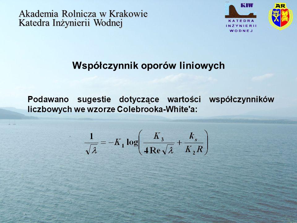 Współczynnik oporów liniowych Akademia Rolnicza w Krakowie Katedra Inżynierii Wodnej Podawano sugestie dotyczące wartości współczynników liczbowych we wzorze Colebrooka-White a: