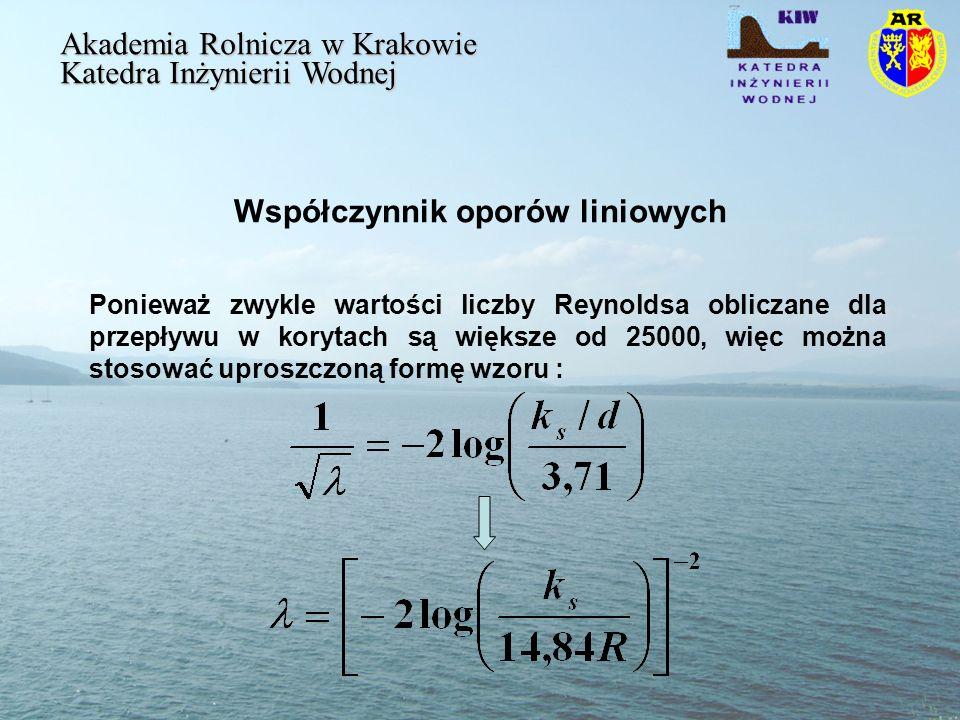 Współczynnik oporów liniowych Akademia Rolnicza w Krakowie Katedra Inżynierii Wodnej Ponieważ zwykle wartości liczby Reynoldsa obliczane dla przepływu w korytach są większe od 25000, więc można stosować uproszczoną formę wzoru :