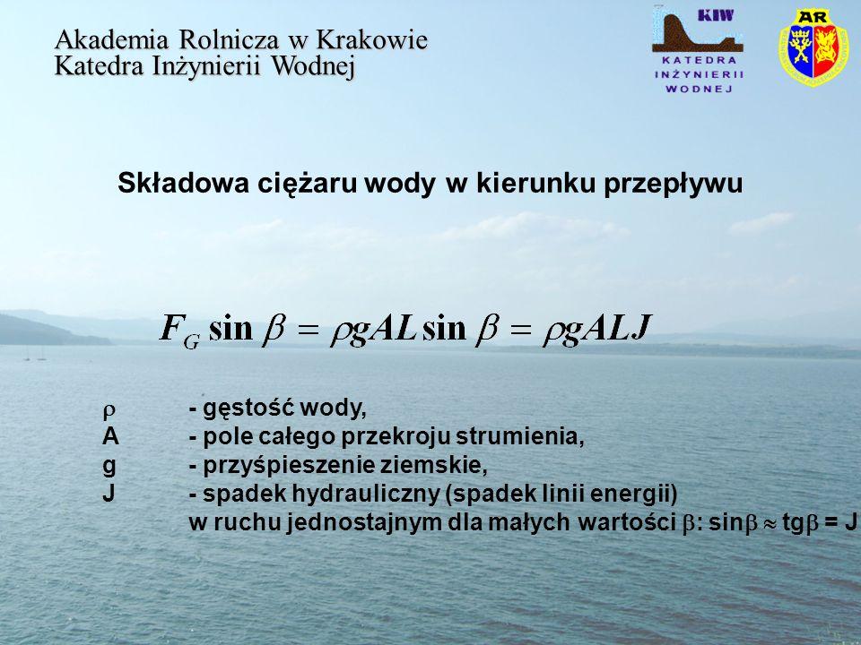 Wartość naprężeń stycznych uśredniona wzdłuż obwodu zwilżonego Akademia Rolnicza w Krakowie Katedra Inżynierii Wodnej R jest promieniem hydraulicznym przekroju poprzecznego koryta wyrażonym zależnością: