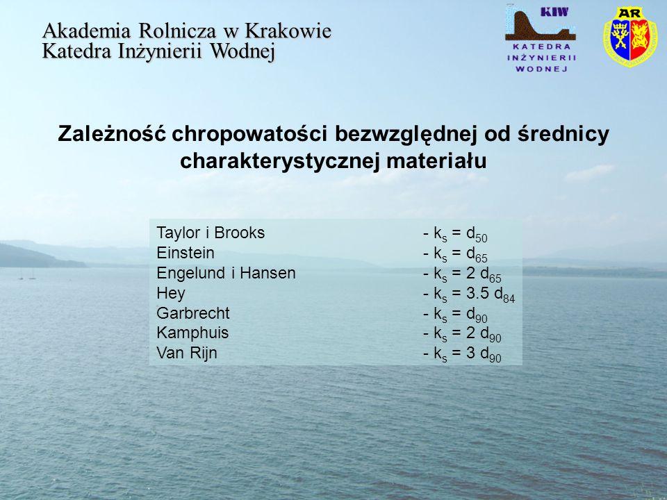 Zależność chropowatości bezwzględnej od średnicy charakterystycznej materiału Akademia Rolnicza w Krakowie Katedra Inżynierii Wodnej Taylor i Brooks - k s = d 50 Einstein - k s = d 65 Engelund i Hansen - k s = 2 d 65 Hey - k s = 3.5 d 84 Garbrecht - k s = d 90 Kamphuis - k s = 2 d 90 Van Rijn - k s = 3 d 90