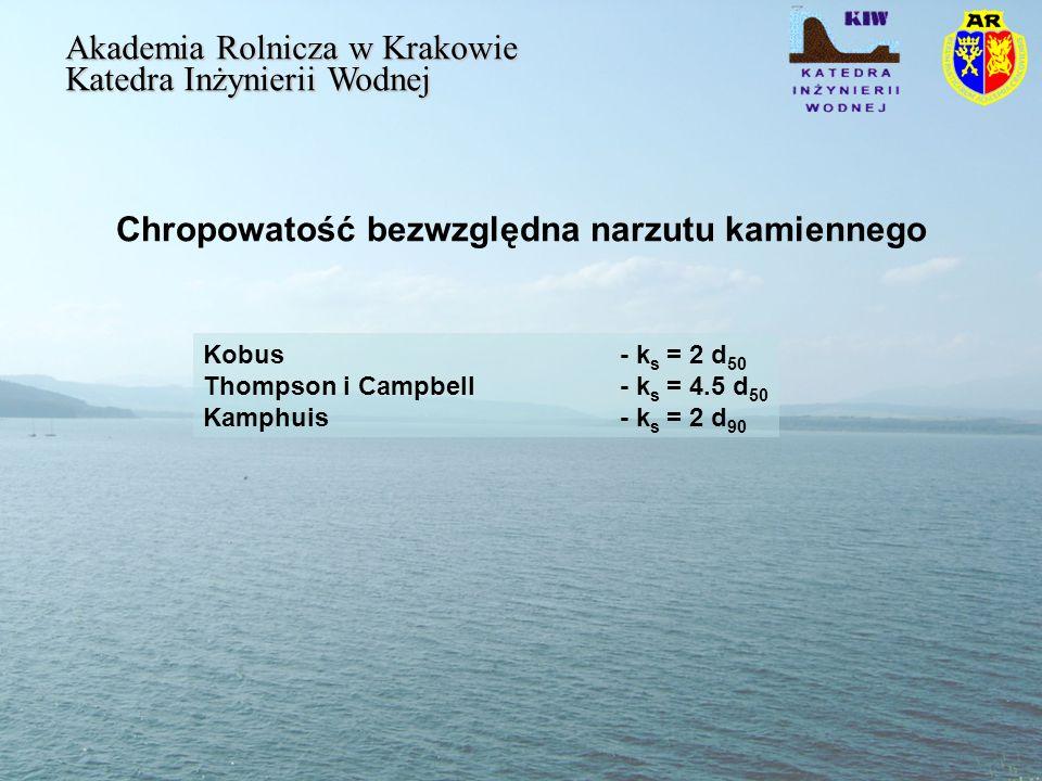 Chropowatość bezwzględna narzutu kamiennego Akademia Rolnicza w Krakowie Katedra Inżynierii Wodnej Kobus - k s = 2 d 50 Thompson i Campbell - k s = 4.5 d 50 Kamphuis - k s = 2 d 90