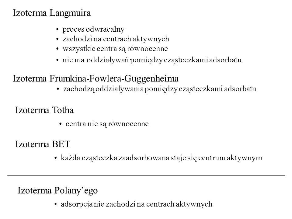 Izoterma Langmuira Izoterma Frumkina-Fowlera-Guggenheima Izoterma Totha proces odwracalny zachodzi na centrach aktywnych wszystkie centra są równocenn