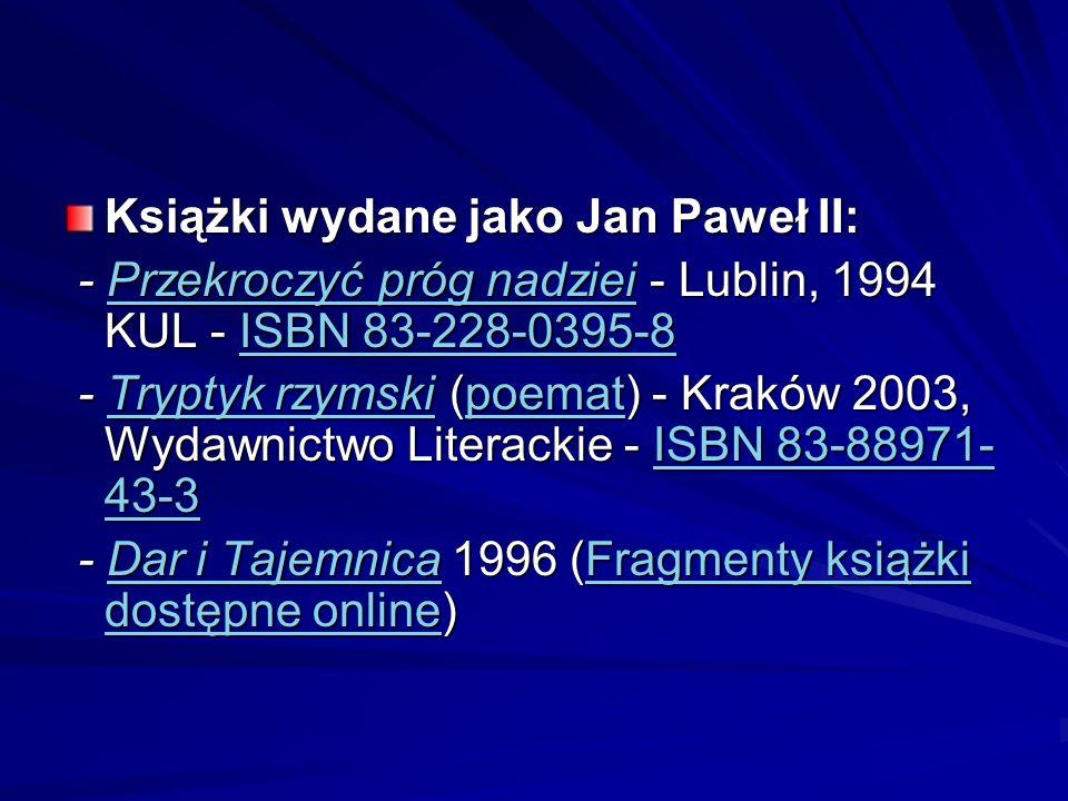 Książki wydane jako Jan Paweł II: - Przekroczyć próg nadziei - Lublin, 1994 KUL - ISBN 83-228-0395-8 - Przekroczyć próg nadziei - Lublin, 1994 KUL - I